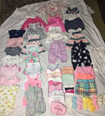 Baby Girl Clothes Lot Of 50 Pcs 6-9 Months Carters & Other Brands