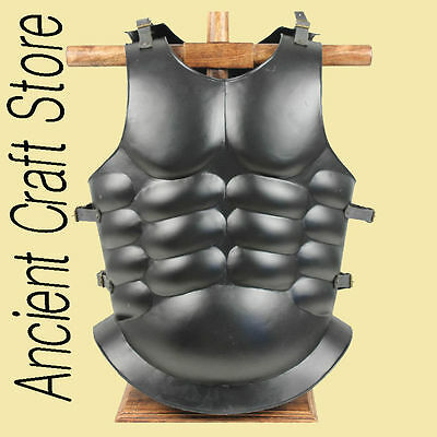 Roman Muscle Breast Plate Medieval Armor Cuirass LARP Black