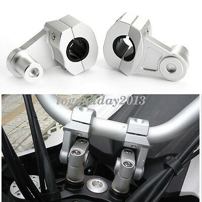 "Aluminum 7/8"" 22mm Motorcycle HandleBar Handle Fat Bar Mount Clamp Riser Silver"