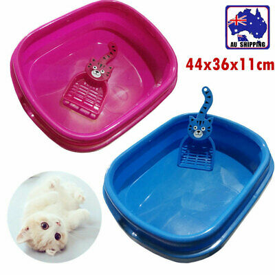 Plastic Cat Pet Toilet Tray Litter Box With Scoop Portable Rose Blue PTOI570