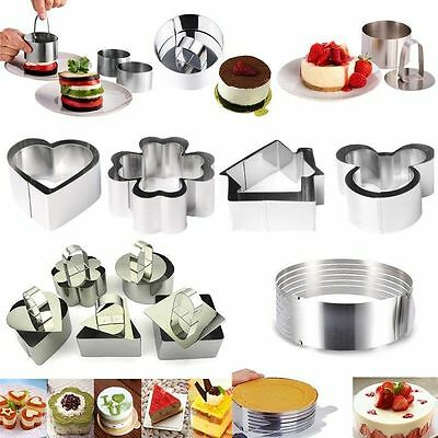 Stainless Steel Mousse Cake Ring Mold Layer Slicer Cookie Cutter Pastry Baking