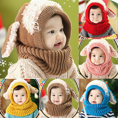 Baby Girl Boy Winter Warm Hat Infant Kid Knitted Woolen Hooded Scarf Earflap Cap