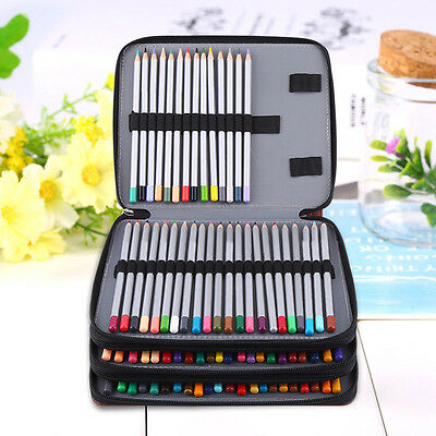 Multi-layers 124 Slots Large Capacity PU Leather School Drawing Pencils Case Bag