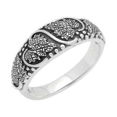 Sterling Silver Oxidize Antique Finish Vines Leaves Band Ring 925 Stamped