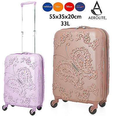 Aerolite Butterfly Rose Gold Pink & Purple Cabin Hand Luggage Hard Shell 4 wheel