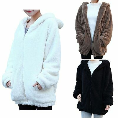Women Girl Cute Bear Ear Warm Hoodie Winter Loose Hooded Jacket Outerwear Coat