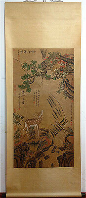 Rare Chinese 100% Hand Painting & Scroll Monkey And Deer  By Lang Shining 郎世宁