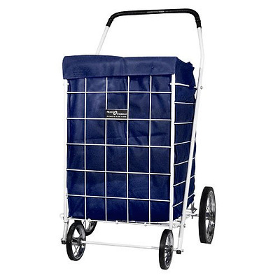 Shopping Cart Rolling Basket Folding Liner Laundry Grocery Trolley Portable Blue