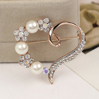 Trendy Rose Gold Plated Faux Pearl Diamond Heart Brooch Dress Flower Pin Party