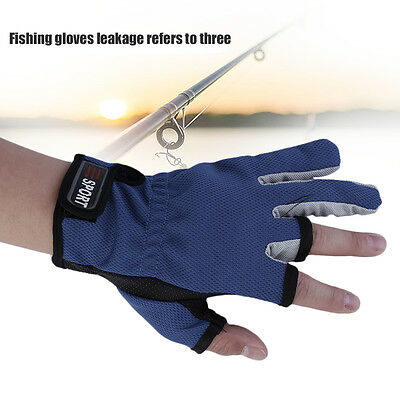 1Pair Skidproof ANTI-SLIP 3 Low Fingers Cut Fishing Gloves Fish Clothing Gear GN