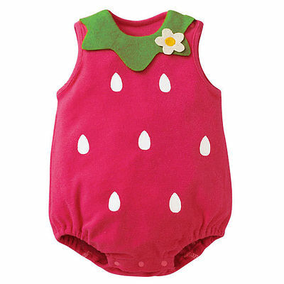 Baby Girl Summer Outfit Cute Strawberry Costume Romper Jumpsuit Bodysuit  0-18M