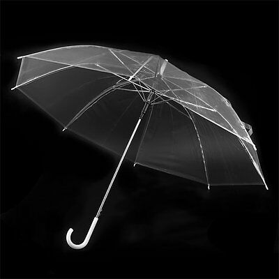 Large Clear Dome See Through Umbrella Handle Transparent Walking Brolly La GN