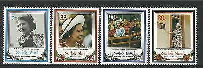 NORFOLK IS 1986 QUEEN ELIZABETH II 60th BIRTHDAY 4v MNH