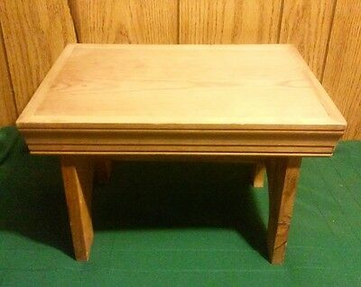 Vtg ANTIQUE Primitive HAND MADE Solid WOOD Bench STEPPING STOOL Seat FOOT REST