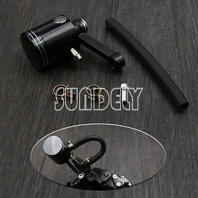 Black Motorcycle Master Cylinder Fluid Oil Reservoir Cup Front Brake Clutch Tank
