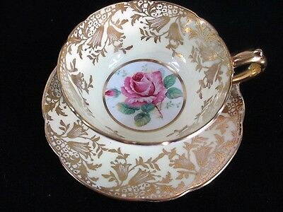 1940s PARAGON Demitasse Cup & Saucer, Cabbage Rose, Pale Yellow, Double Warrant