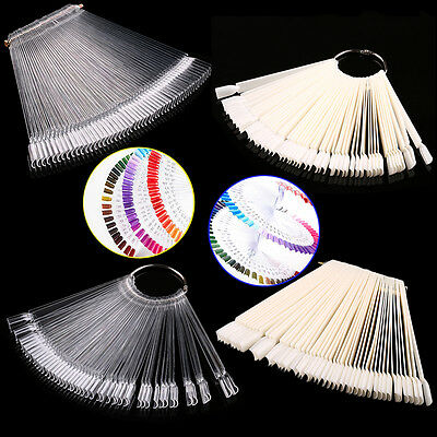 50 Clear Fals Nail Art Tips Colour Pop Sticks Display Fan Practice Starter IBM