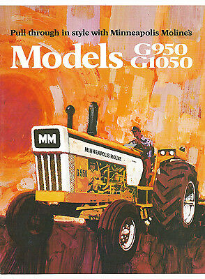 1972 Minneapolis Moline Model G950 G1050 Tractor Brochure LP Gas Diesel