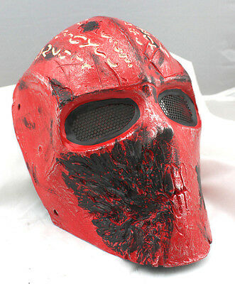 RED Fiber Resin Wire Mesh Eye Airsoft Paintball Full Face Protection  Mask