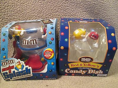 """2 M&M Vintage Items: Dispenser-""""Make a Splash""""  and  A Collectible Candy Dish."""
