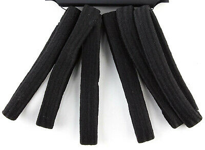 Flat wide Thick Hair Elastics Non Metal  Ponytail Hair Bands Black Pack of 12