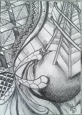 ACEO MS Original Drawing Abstract Zentangle Design Graphite Art Card