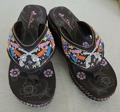 ee1203d48125 Coffee Montana West Flip Flops w Crossed Pistols Concho Embroidered 3