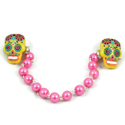Yellow and Pink Sugar Skull with Pink Pearls Sweater Clip, Cardigan Clip, Retro