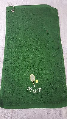 Tennis or Badminton design TOWEL with Hook Embroidered Personalised Curved Name