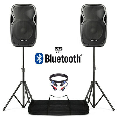 "Active Powered 12"" Bluetooth DJ PA Disco Speaker Set with Stands & Cables 1200W"