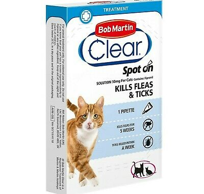 CLEAR CAT FLEA & TICK SPOT-ON - (5-15 Weeks Protection) - Bob Martin bp Fipronil