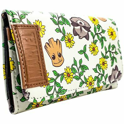 New Official Guardians Of The Galaxy Vol2 Baby Groot Rocket Floral Trifold Purse