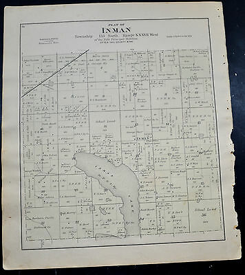 1884 OTTER TAIL COUNTY MAP MINNESOTA Elmo and Inman Townships