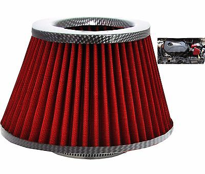 Universal Large Carbon /Red Car Cone Induction Kit Intake Air Filter + Adapters