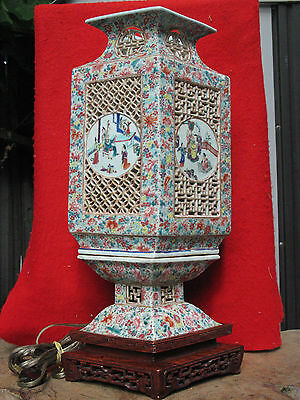 A1153 Atq Chinese Porcelain Wedding Lantern w Rosewood Base Converted to A Lamp