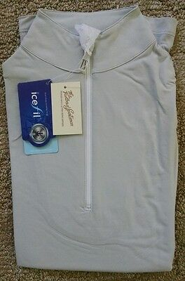 Tailored Sportsman Ladies Icefil Zip Top Riding Equestrian Shirt, XS, Silver NWT