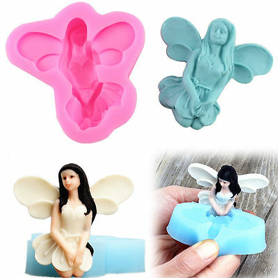 3D Fairy Silicone Cake Mould Cupcake Fondant Tool Angel Girl Elf Mold Wings God