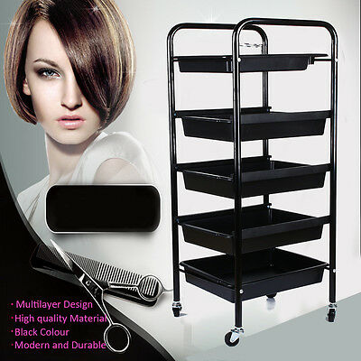 5 Beauty Salon Spa Styling Station Trolley Equipment Rolling Storage Tray Cart