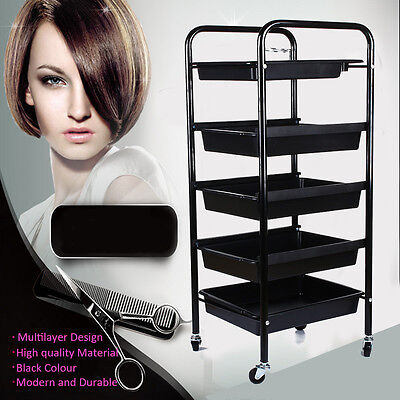 5 Drawers Salon Hairdresser Barber Hair Trolley Rolling Storage Cart Organizer