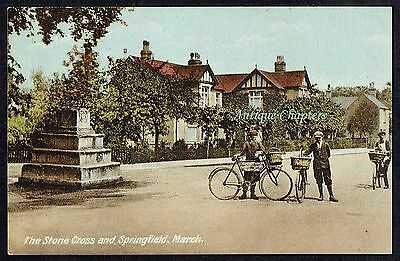 c.1910 Northrop Butchers Bicycle Stone Cross March Cambridgeshire Postcard B72