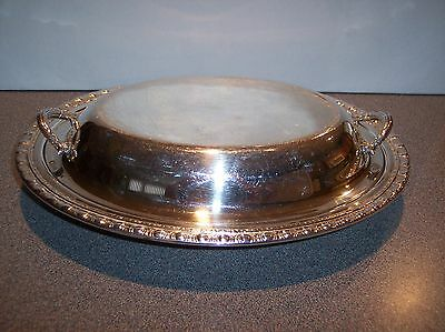 Silver Plate Silverplate Serving Platter Dish w/ Lid Cover Unmarked