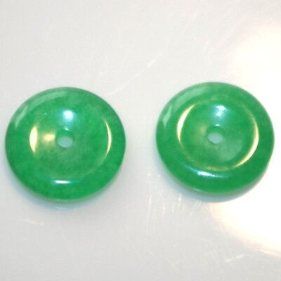 Vintage Gorgeous Round 15 Mm Green Jade Jackets For Stud Earrings Create A Look