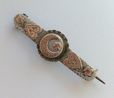 Small Antique Silver & Gold Crescent Moon Brooch Pin