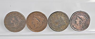 Lot of 4 Liberty Head, Modified Matron Head Large Cents - Cull (#6509)