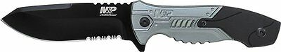 Smith & Wesson M&P Grey & Black Serrated Fixed Blade Knife w/ Sheath SWMPF2BS