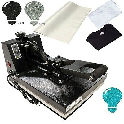 "15""x15"" Digital Clamshell Heat Press Sublimation Plus FREE Glitter HTV + Tshirts"
