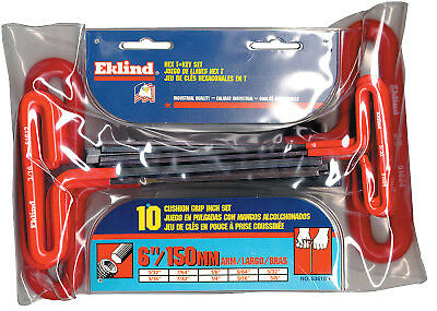 """3/32"""" - 3/8"""" T-Handle Hex Kit W/pouch 10"""