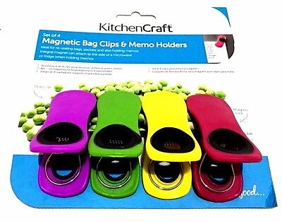 Pack Of 4 Kitchen Craft Magnetic Memo Clips