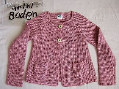 NWT Mini Boden Pink Wool Cashmere Textured Cardigan Knit Sweater Jacket 7 8