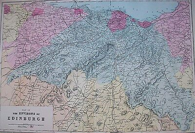 1890 UK Scotland Environs of Edinburgh Large Antique Victorian Bacon Map